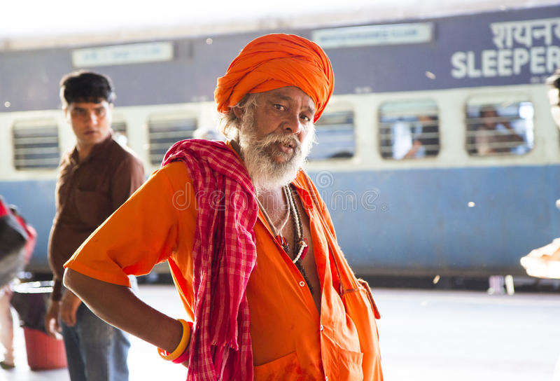HARIDWAR, INDIA - April 04, 2014 - Sadhu portrait at the railway station. stock image