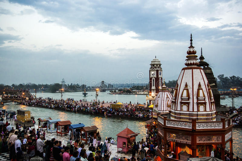 HARIDWAR, INDIA - MARCH 23, 2014: Har Ki Pauri is a famous ghat on the banks of the Ganges royalty free stock photography