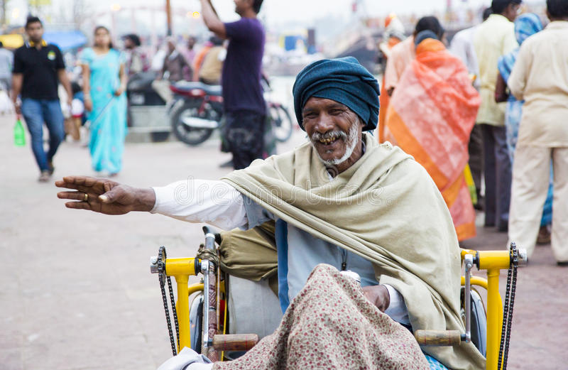 HARIDWAR, INDIA - MARCH 23, 2014: Sadhu portrait on the bank of Ganga river. stock photos