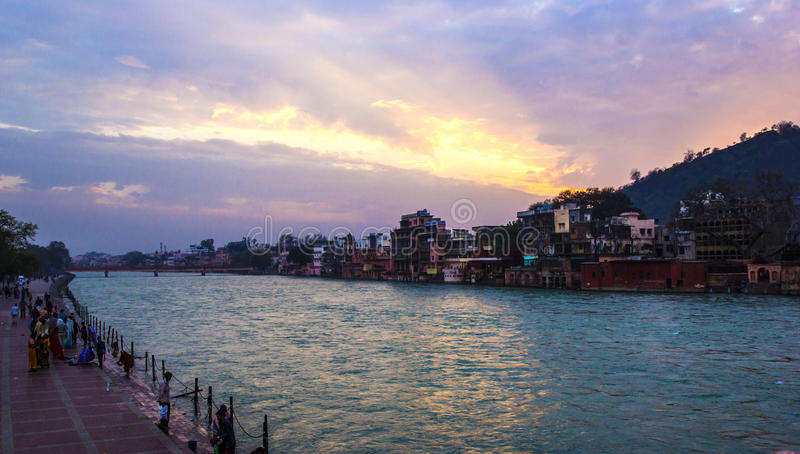 HARIDWAR, INDIA - MARCH 23, 2014: view to Ganga river. stock photo
