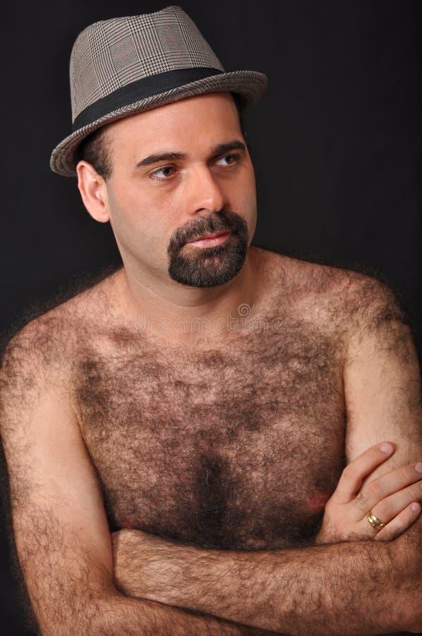 Harig mensenportret. stock afbeeldingen
