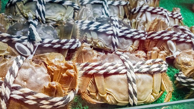 Harige krabben voor verkoop royalty-vrije stock fotografie
