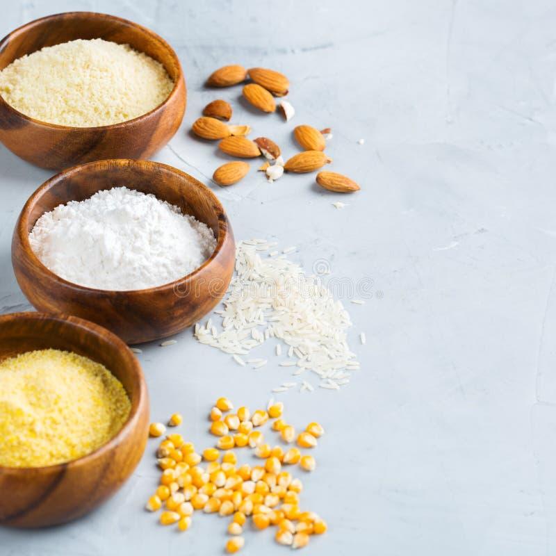 Harina libre de la almendra, del maíz, del arroz, del alforfón y del garbanzo del gluten foto de archivo