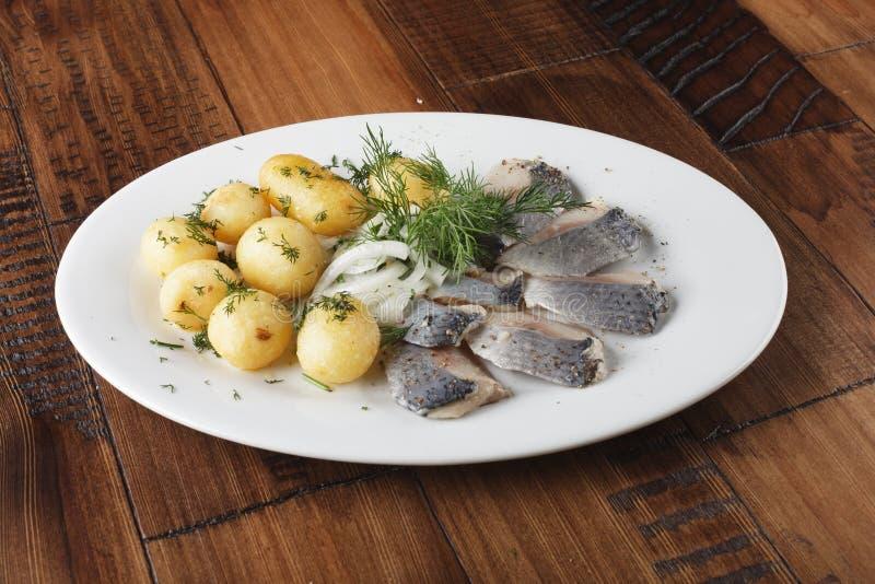 Haringenvissen met jonge aardappelsballen stock afbeeldingen