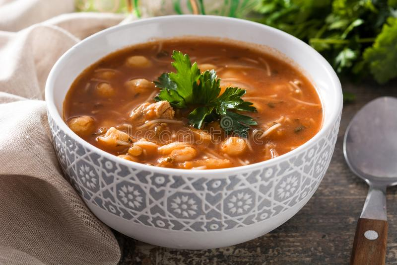 Harira汤 典型的摩洛哥食物 Ramadà ¡ n概念 图库摄影