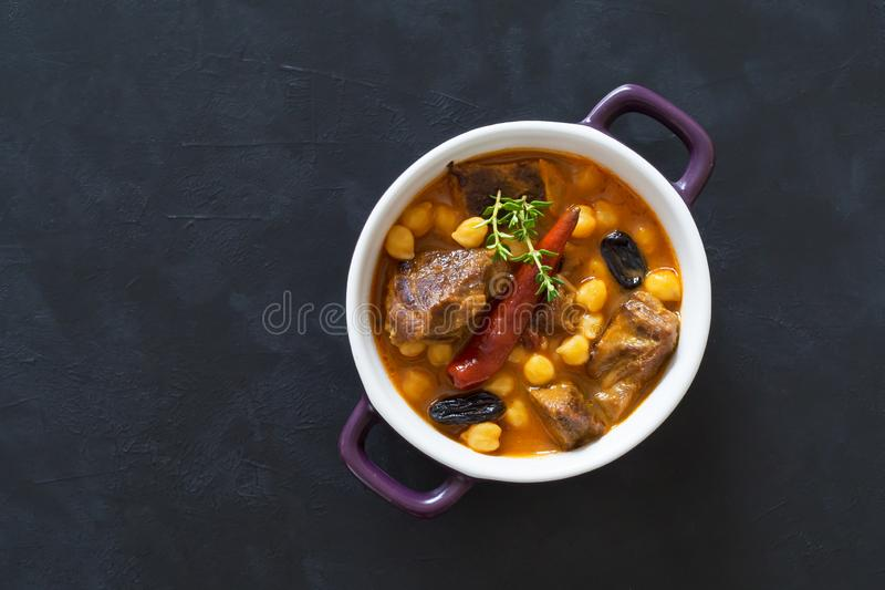 Harissa Lamb with chickpeas and apricots. Top view royalty free stock photos