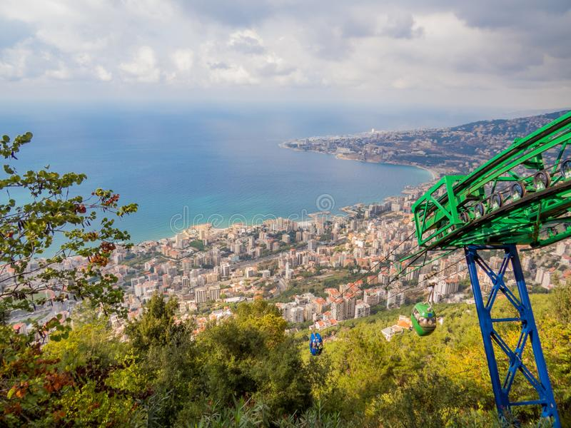 City view from the top of the Cable Car in Jounieh, Lebanon. HARISSA, LEBANON - NOVEMBER 5, 2017: City view from the top of the Cable Car in Jounieh royalty free stock images