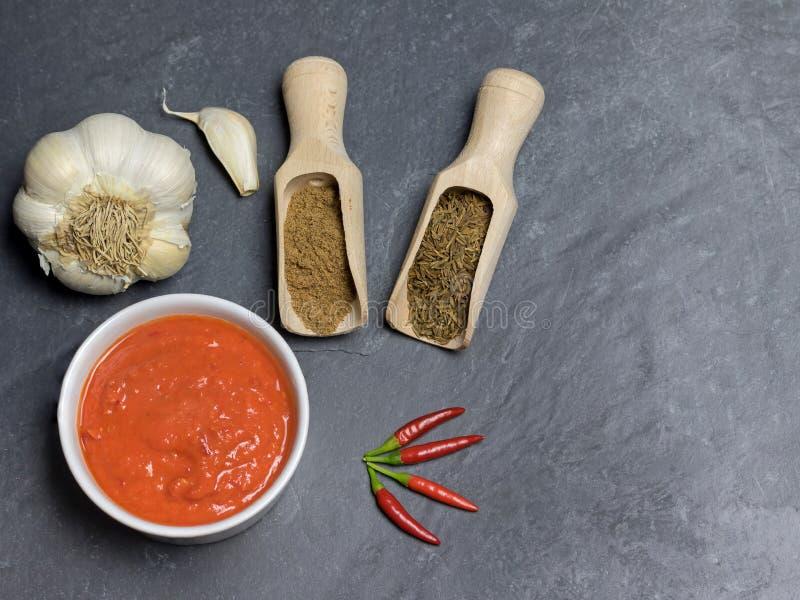 Harissa sauce, koriander, roman cumin, vitlök och chilipeppar på det mörka stenbordet med kopieutrymme fotografering för bildbyråer