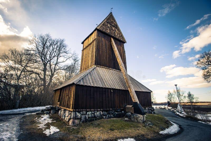 Harkeberga - 2018年3月29日:Harkeberga,瑞典老教会的塔  免版税图库摄影