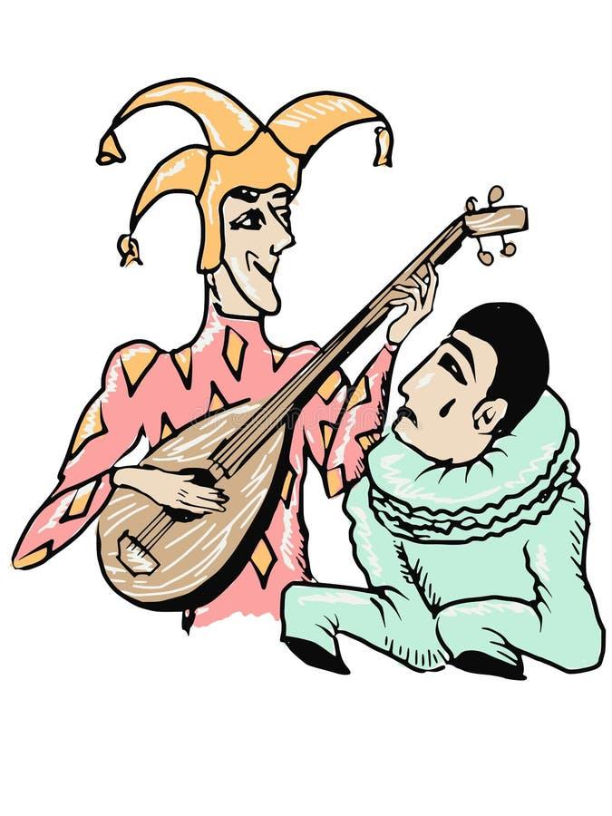 Harlekin und Pierrot stock abbildung
