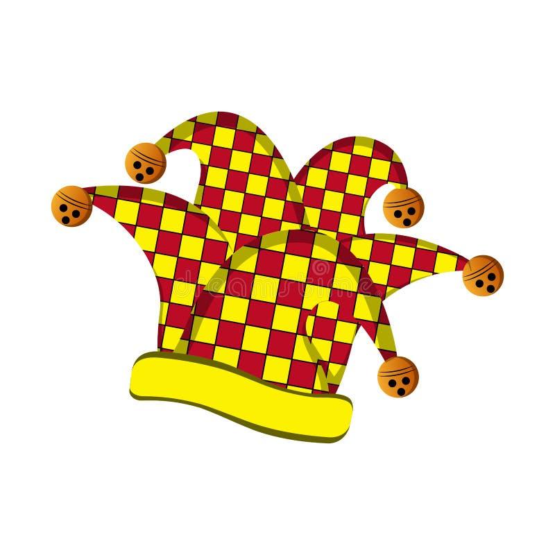 Harlekinhatt, dag för April dumbom royaltyfri illustrationer
