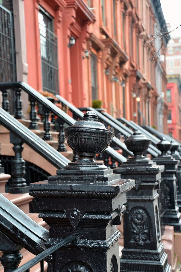 Harlem, πόλη της Νέας Υόρκης, Νέα Υόρκη, ΗΠΑ Λεπτομέρεια σπιτιών αρενησθας δε θολορ οσθuρο στοκ εικόνες