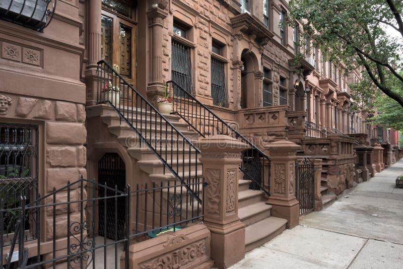 Harlem hus i New York City arkivfoto