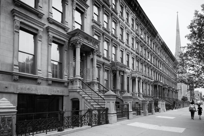 Harlem, New York City, en noir et blanc photographie stock