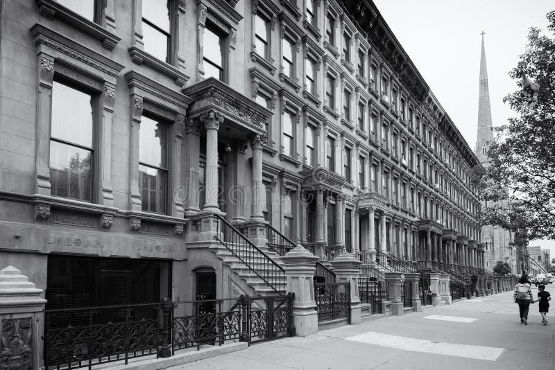 Harlem, nowy York miasto w czarny i biały, fotografia stock