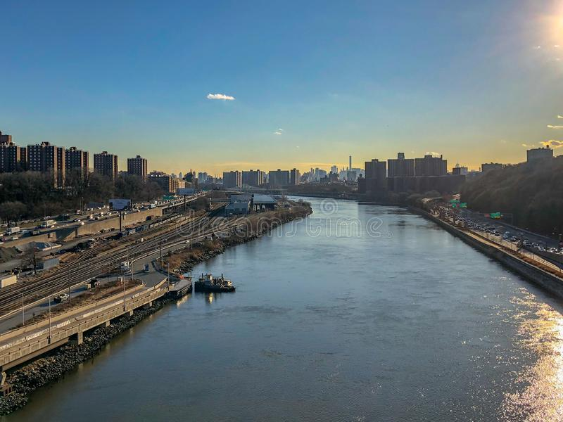 Harlem River View. Aerial view along the Harlem River of the Bronx and Manhattan in New York City royalty free stock photography