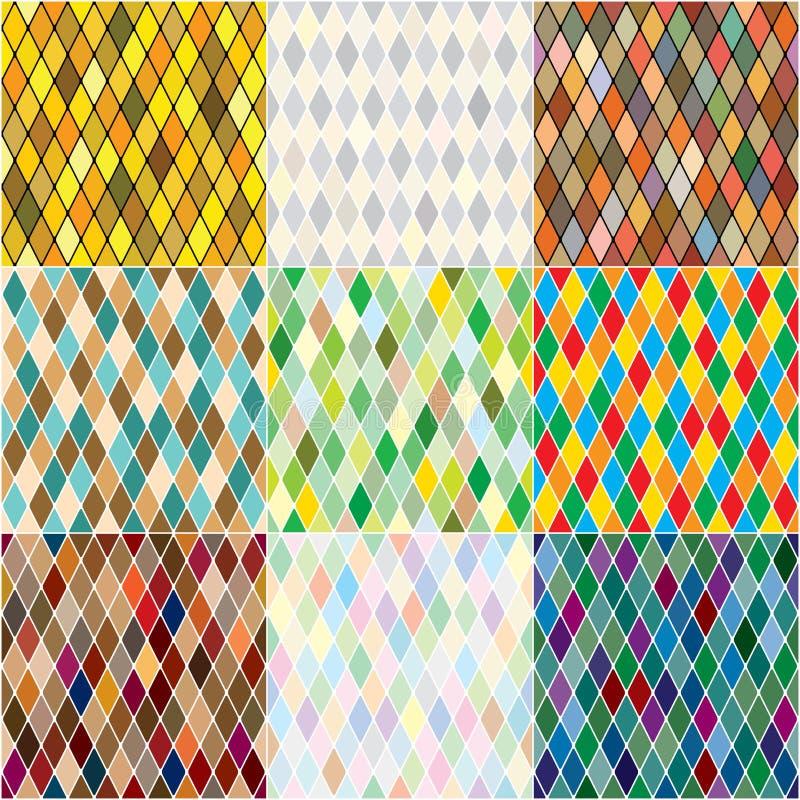 Harlequin' заплатка мозаики s polychromatic, пестротканые безшовные картины, установила красочных плиток иллюстрация вектора