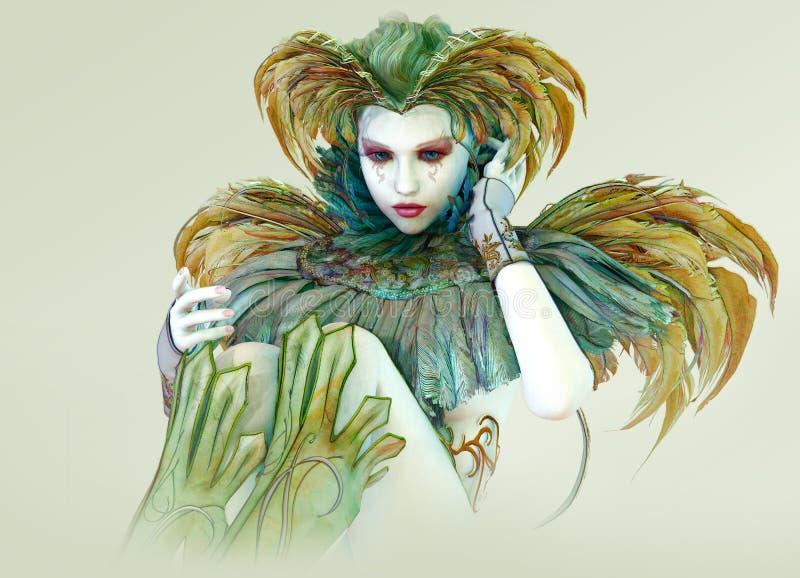 Harlequin coloré, 3d CG. illustration stock