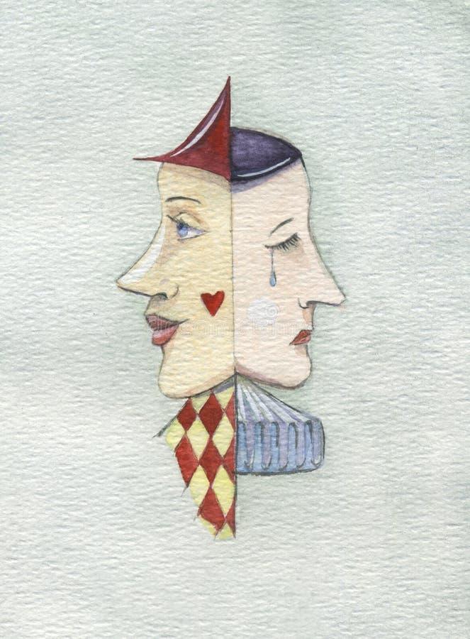 Harlequin e Pierrot ilustração do vetor