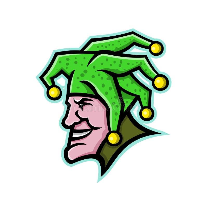 Harlequin Head Side Mascot. Mascot icon illustration of head of a harlequin, jester, minstrel, joker, medieval singer or musician, entertainer viewed from side royalty free illustration