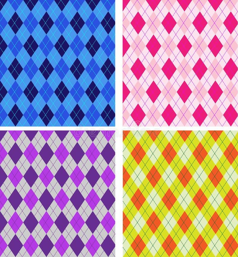 Harlequin Pattern Set Seamless royalty free illustration