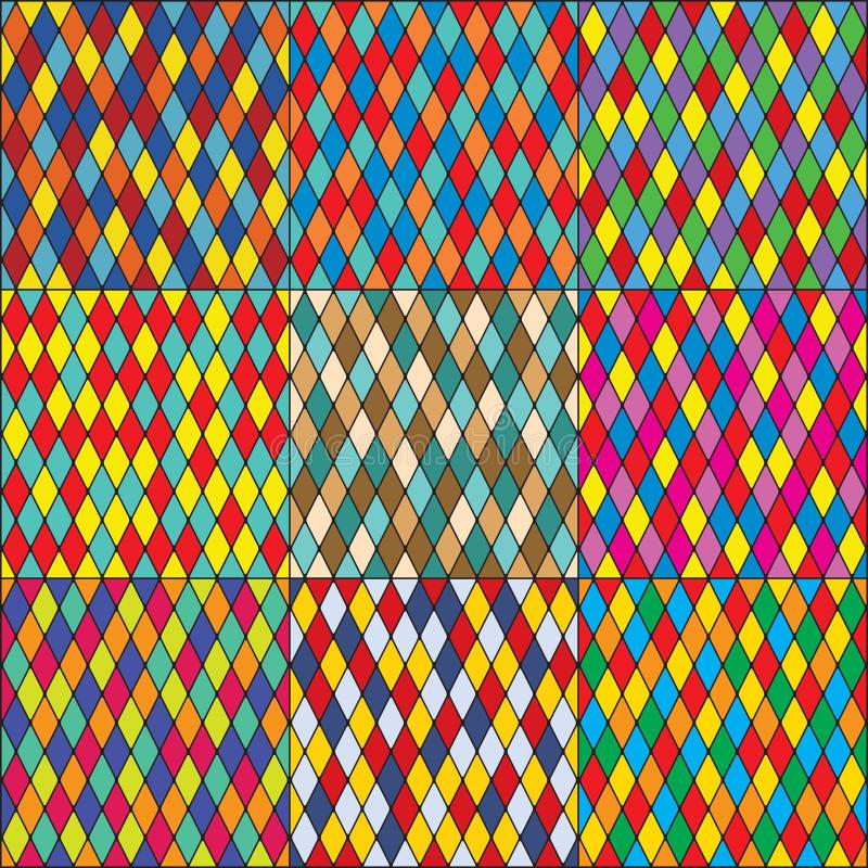 Harlequin' s polychromatic mozaïeklapwerk, multi-colored naadloze patronen, reeks kleurrijke tegels vector illustratie