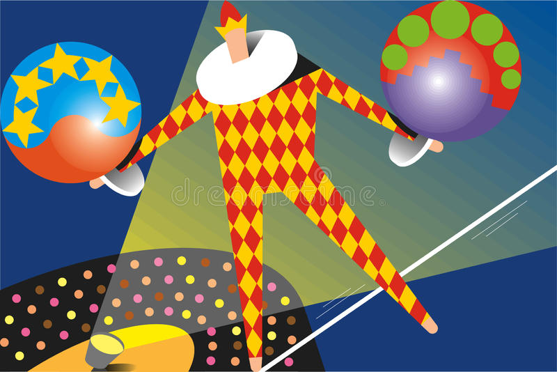 Harlequin tightrope royalty free stock photography