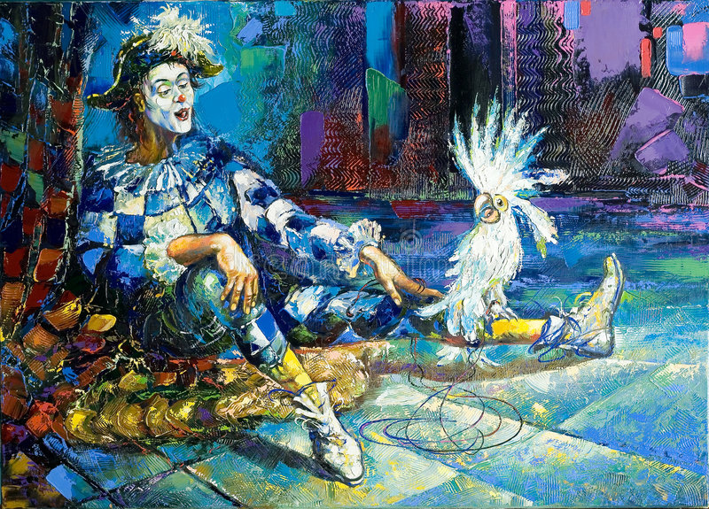 Harlequin and a white parrot