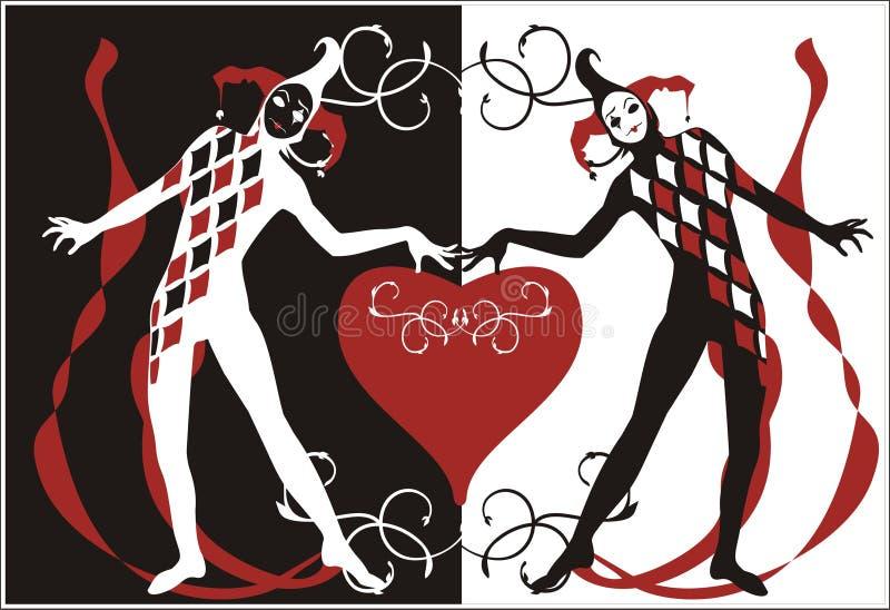 Harlequins avec le coeur illustration stock