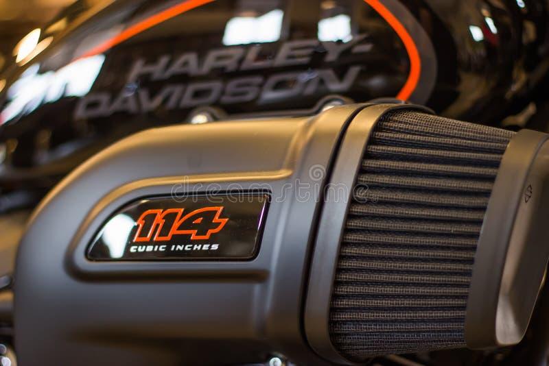 Harley Davidson «Otwartego domu wydarzenie «w Włochy, nowy FXDR 114 zdjęcia royalty free