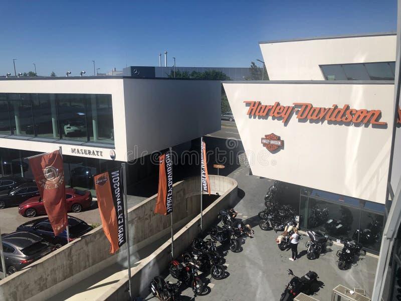 Harley-Davidson återförsäljare som delen av Motorworlden i Boeblingen nära Stuttgart, Tyskland arkivbild