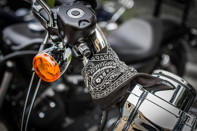 Harley-Davidson bike detail with scarf on the motors wheel stock photos