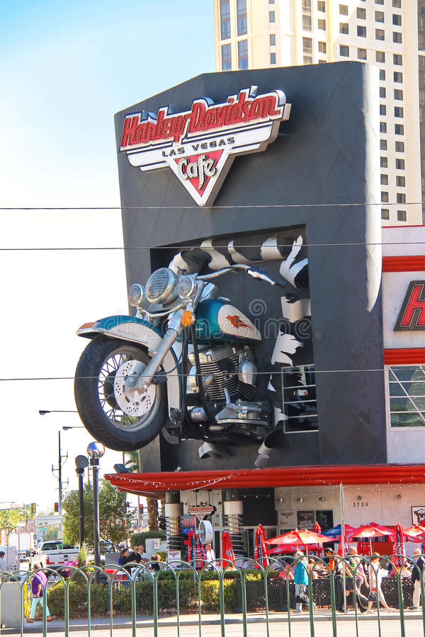 Harley-Davidson Cafe in Las Vegas with a replica of the famous m royalty free stock images