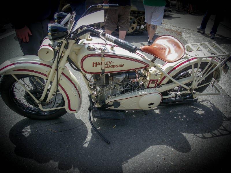 Nice old bike on show. Harley-Davidson at a car show in Greenlake, Washington outside of Alaska. Vintage, motorcyle. or bike royalty free stock photography