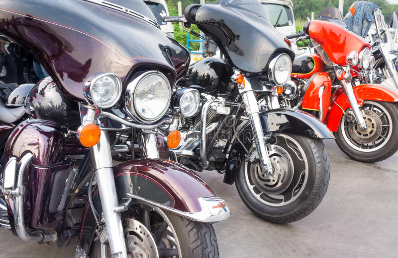 Harley davidson. Classic motorcycle parking royalty free stock photography
