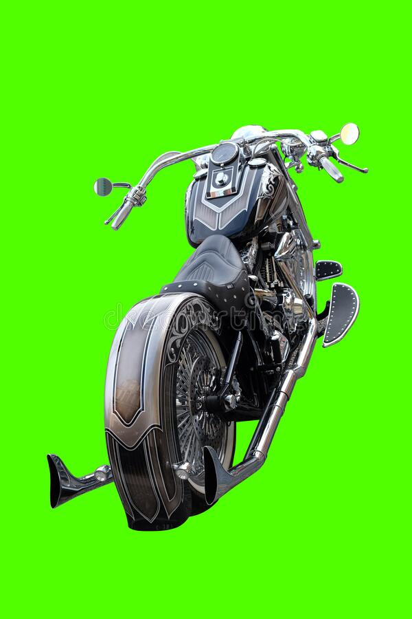 Harley Davidson engine black el papa loco back. The motorbike is extracted from the background royalty free stock photos