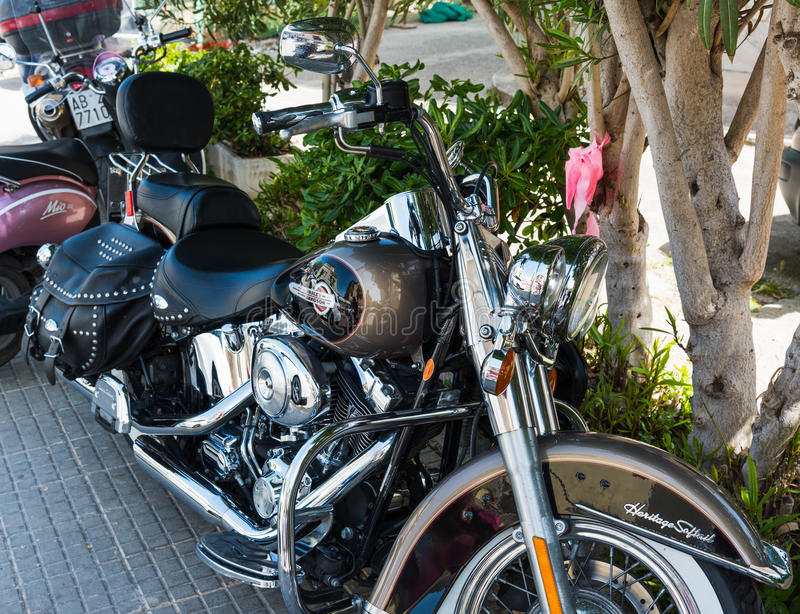 Harley Davidson Heritage Softail Classic parked in the shade stock images