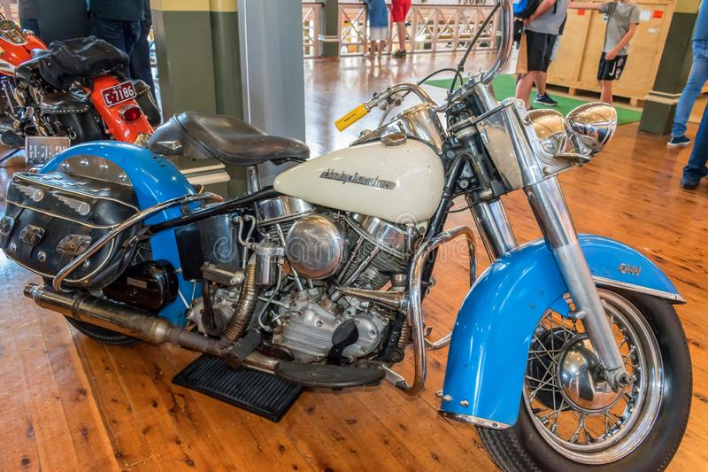 1954 Harley Davidson Hydra Glide Solo motorcycle at Motorclassica royalty free stock photography
