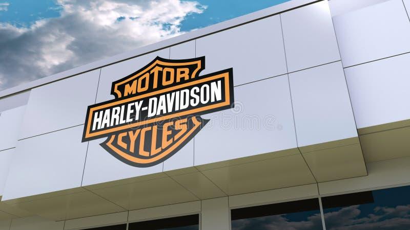 Harley-Davidson, inc. logotipo en la fachada moderna del edificio Representación editorial 3D libre illustration