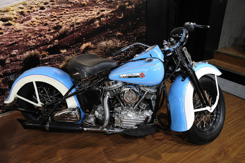 Harley Davidson motorcycleï¼ Auto Kina 2012 royaltyfria bilder