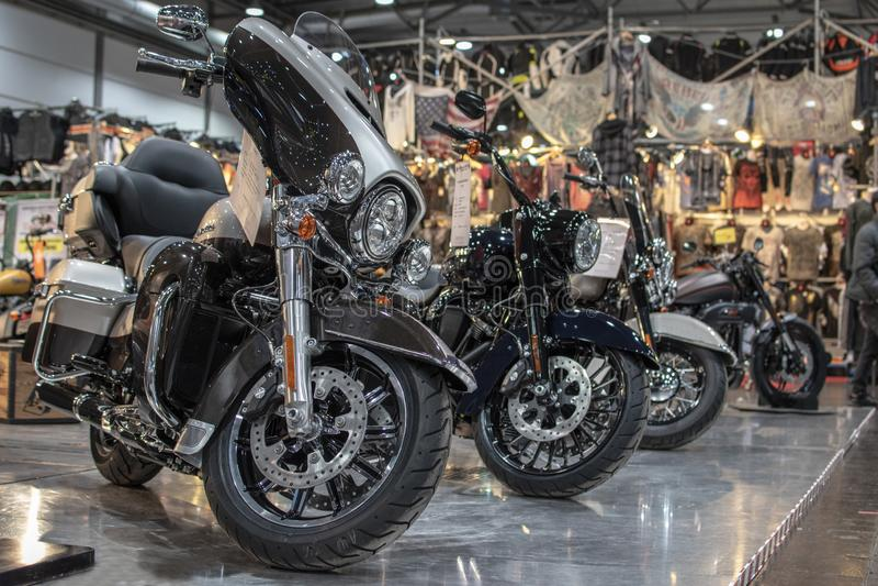 Harley Davidson motorcycle, chopper, chromed against other motorbikes stock image