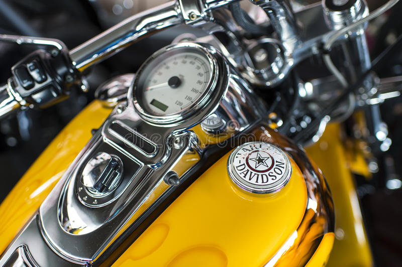 Harley Davidson motorcycle dashboard and speedometer detail stock photo