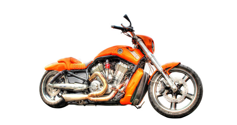 Harley Davidson motorcycle isolated on a white background. Orange Harley Davidson V - Rod motorcycle isolated on white background stock photography