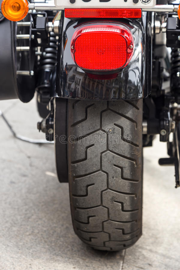 Harley Davidson motorcycles details stock photo