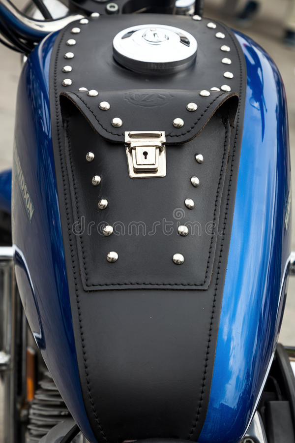 Harley Davidson motorcycles details stock photography