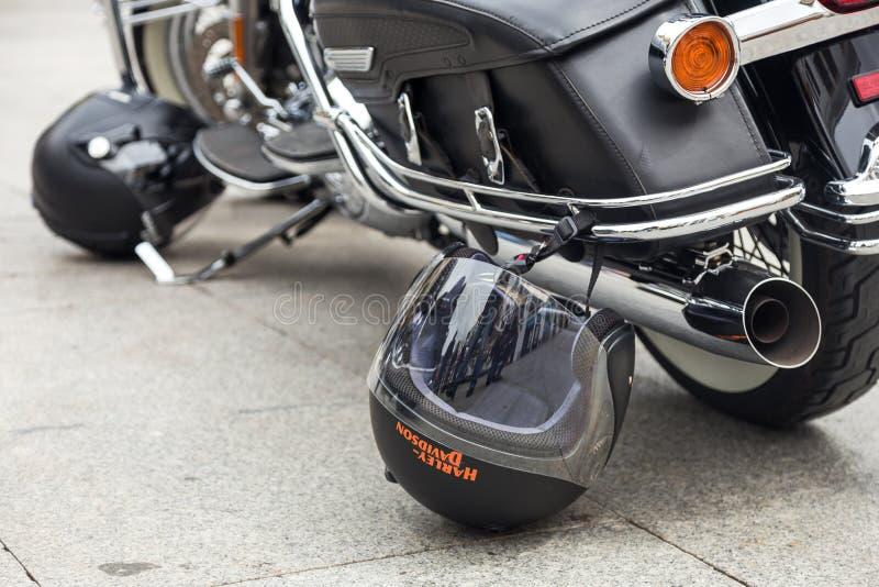 Harley Davidson motorcycles details stock photos