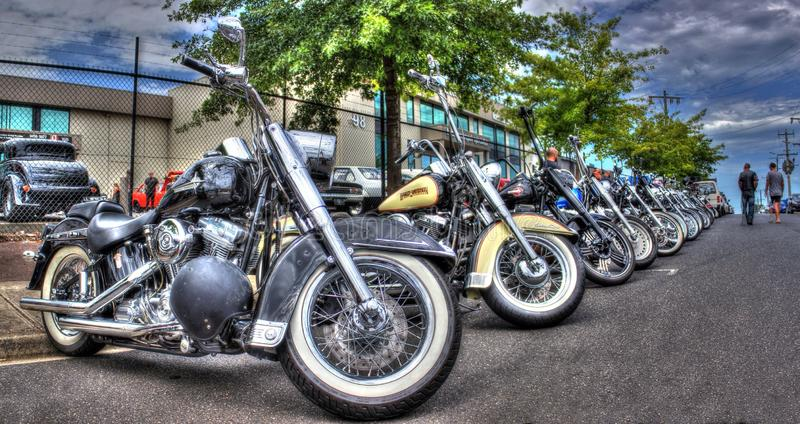 Harley Davidson motorcycles on display at bike show in Melbourne, Australia stock photo