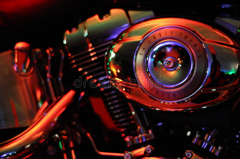 Harley Davidson. Motorcycles. High performance bikes, softail model. Engine exposed, and exhaust. Shiny finish, and chrome details royalty free stock images