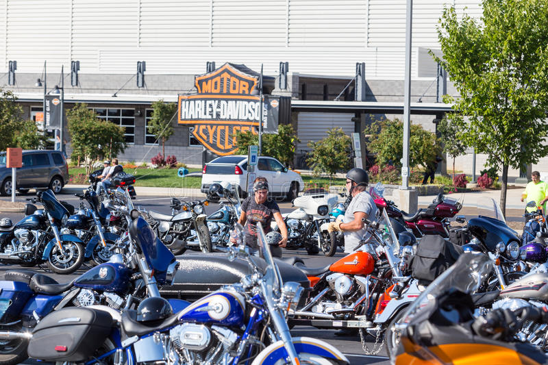 Harley Davidson Motorcycles Parked At Factory Open House Editorial