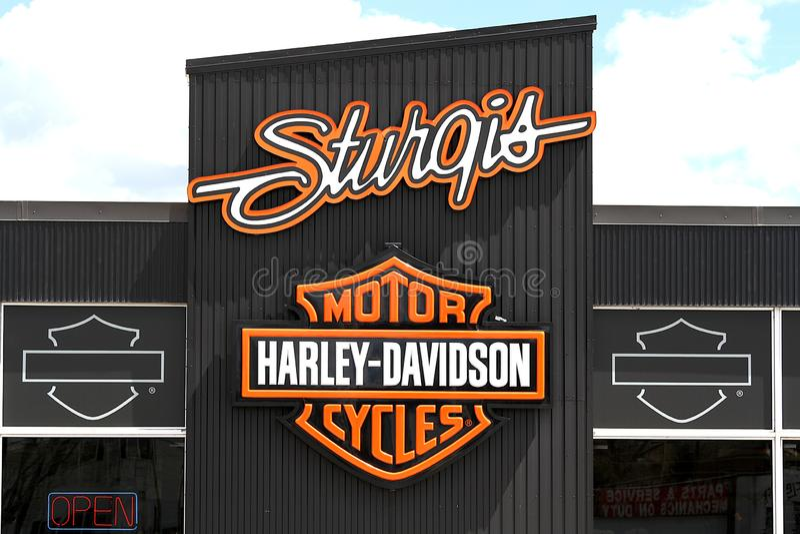 Harley Davidson Motorcycles Sturgis South Dakota arkivbilder